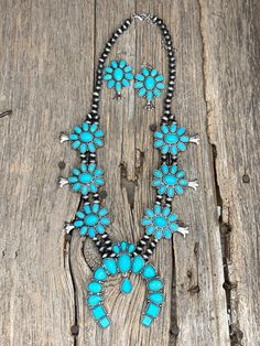 Silverado Squash Blossom Necklace Set - Ropes and Rhinestones Native Indian Jewelry, Native American Jewelry, Turquoise Hair, Turquoise Necklace, Rhinestone Necklace, Necklace Set, Criss Cross Top, Black Cow, Cow Skull