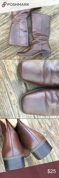 Connie Leather Boots Made in Brazil. Leather upper. Have been worn and show it mostly in the toe, not real bad because I have lovingly mink oiled them and they took to it really well. A great everyday leather boot that still has years left if you continue to take care of the leather. Size 7-1/2 Connie Shoes Heeled Boots