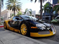 Rich Luxury Lifestyle Cars | Custom Yellow & Black Bugatti Veyron Spotted In Beverly Hills Bijan
