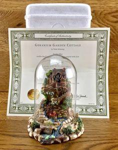 Geranium Garden Cottage Violet Schwenig Franklin Mint Dome Hand Painted ornament Geraniums Garden, Garden Cottage, Hand Painted Ornaments, Franklin Mint, Snow Globes, Frame, Shop, Ebay, Picture Frame