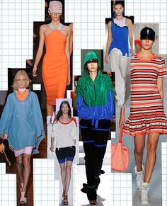 Fashion trend report spring/summer 2012: Get a spring in your summer step with the new season's sportwear. Mix electric oranges, bright greens and royal blues like at Marc by Marc Jacobs, Alexander Wang and Victoria Beckham.                      Clockwise from bottom left: Rag & Bone, VIctoria Beckham, Stella McCartney, Marc by Marc Jacobs, Kenzo, Lacoste, Alexander Wang.