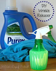 DIY Wrinkle Releaser What you need:      Spray bottle     Fabric softener     Water  What to do:      Open spray bottle     Pour 1 Tbsp fabric softener into bottle     Pour 1 cup water into bottle     Shake to mix.