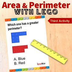 LEGO building challenge games help kids learn math concepts of area and perimeter, while practicing spacial reasoning, logic thinking, problem solving skills. Area And Perimeter Games, Area And Perimeter Worksheets, Lego Activities, Math Games, Building For Kids, Lego Building, Lego Math, Basic Geometry, Challenge Games