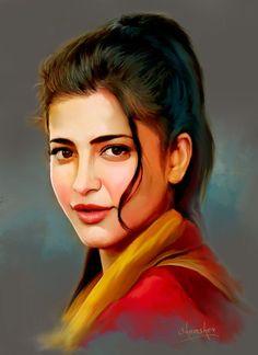Most amazing photoshoots of shruti hassan. Digital Portrait, Portrait Art, Potrait Painting, Portraits, Samantha Images, Shruti Hassan, Indian Art Paintings, Actress Wallpaper, Celebrity Drawings