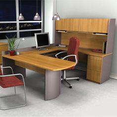 Bestar Executive U-Shape Computer Desk-Capuccino Cherry & Slate