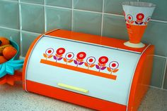Orange Flower Power Bread Box and Measuring Cup