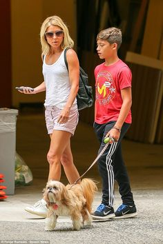 Making time for her boy: Kelly Ripa and her youngest child, Joaquin, 13, were spotted taki...