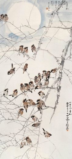 when sparrows gather their voices proclaim the day all are reassured _____________________________. Japanese Painting, Chinese Painting, Japanese Prints, Japanese Art, Sumi E Painting, Asian Artwork, Art Chinois, Art Asiatique, Photo D Art