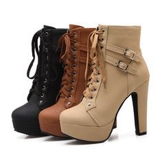 Casual buckle straps lace up thin high heel boots