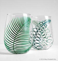 Two Summer Fern Stemless Wine Glasses  Set of by MaryElizabethArts