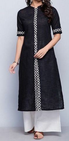 Cotton Slub FabricDischarge BorderChinese Collar with SleevesA-line FitHand Wash Separately in Cold Water Salwar Designs, Simple Kurti Designs, Kurta Designs Women, Kurti Designs Party Wear, Latest Kurti Designs, Sleeves Designs For Dresses, Dress Neck Designs, Blouse Designs, Sleeve Designs