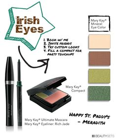 St. Patrick's Day Irish Eyes - Green mineral eye makeup marykay.com/mstretz http://www.beautysets.com/sets/24356 - Looks Club/Party