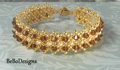 Swarovski Crystal and Pearl Tennis Bracelet-Bead Woven Bracelet-Right Angle Weave Bracelet-Smoked Topaz Crystal and Light Gold Pearls by BeBoDesigns on Etsy