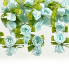 New DIY Ribbon Rose Wedding Flower Satin Decor Appliques Craft Sewing Leaves 100 Pcs Blue -- Visit the image link more details.