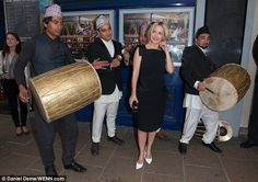 Drummers welcome Actress #GillianAnderson at the opening night of the London INDIAN Film Festival at the Cineworld Haymarket in central London.