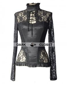 #Pentagramme #Black #Sexy #Lace Long Sleeves #Gothic #T-Shirt for #Women