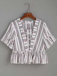 Shop Striped Print Lace Up Frill Top online. SheIn offers Striped Print Lace Up Frill Top & more to fit your fashionable needs.