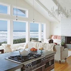 family room with an ocean view