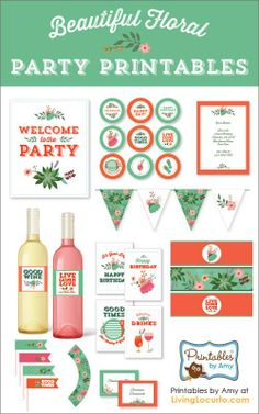 Pretty Tangerine and Green Floral Party Printables Collection by Amy Locurto. LivingLocurto.com
