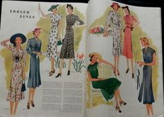 Mccall's magazine, May 1938 featuring McCall 9705, 9714, 9704 and 9709 on the left page, 9700, 9740, 9710 and 9716 on the right page