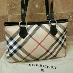 Burberry Nova Check Tote Beautiful and popular feminine design.  Well taken care and absolutely authentic.   Great condition!  It does have normal wear on the edges as depicted in the photo.    Burberry Bags Totes