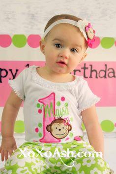 Mono mod cumpleaños--Girly mono caliente rosa y verde lima--cualquier edad o número--chicas cumpleaños camisa, camisa bordada o mono