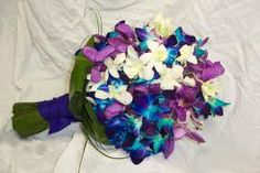 Purple and turquoise blue bridal bouquet