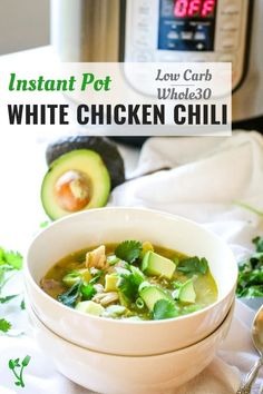 Instant Pot White Chicken Chili is a chunky, hearty, delicious and nutritious soup recipe! Warm up a bowl of this Whole30, Paleo and Keto Chili that requires only 8 real food ingredients and minimal effort with the help of the Instant Pot. The perfect family friendly fall dinner idea.   Prepare Healthy Soup Recipes, Low Carb Recipes, Real Food Recipes, Vegan Recipes, Chili Recipes, Chicken Recipes, Affordable Healthy Meals, Healthy Dinners, White Chicken Chili