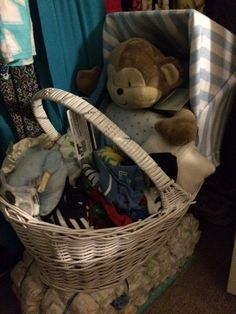 """My grandson's gift for his Mom's """"sprinkle"""" Wicker Baskets, Gifts For Him, Sprinkles, Picnic, Organization, Homemade, Home Decor, Getting Organized, Organisation"""