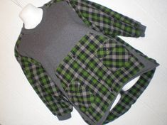 Dark gray Sweatshirt with green plaid Flannel shirt upcycled