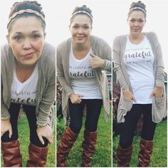 Real mom style - comfy fashion, messy bun, and on a budget! :) Cents of Style Thankful Grateful Blessed FREE t-shirt deal Grateful, Thankful, Cents Of Style, Thanksgiving Outfit, Mom Style, Love Fashion, Blessed, Comfy, Fashion Deals