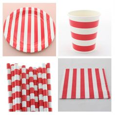 red striped dinnerware set----paper platecuppaper straw and : pink and blue paper plates - pezcame.com