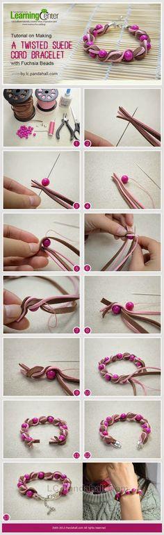 Gunadesign Handmade Design Barn: Twisted Suede Cord Bracelet with Fuchsia Beads