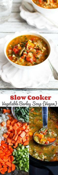 Slow Cooker Vegetable Barley Soup Recipe {Vegan}...A tasty way to get a couple of servings of vegetables! 164 calories and 5 Weight Watchers SmartPoints