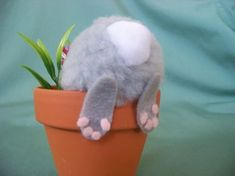 Whimsical Easter Decoration / Bunny In Flower Pot - 29 Creative DIY Easter Decoration Ideas: