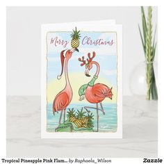 Tropical Pineapple Pink Flamingo Christmas Holiday Card Tropical Christmas, Beach Christmas, Merry Christmas Card, Christmas Cards To Make, Pink Christmas, Christmas Holidays, Xmas Cards, Christmas Crafts, Christmas Decorations