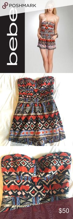 Bebe Aztec Romper Bebe Aztec Romper. Size 4. Side pockets, rubber lining inside to keep the top in place. I no longer have the removable straps it came with. Worn once. bebe Pants Jumpsuits & Rompers