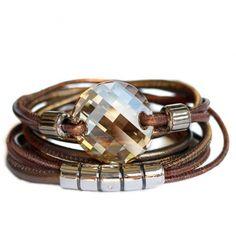 Designerschmuck| Designer Schmuck online bestellen-Wickelarmband aus Nappa-Leder in Bronze mit Swarovski Twist Cabochon