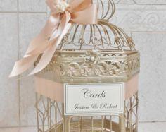 Mittlere Champagnergold Birdcage Kartenhalter Hochzeit / Wedding Card Box / Vogelkäfig Card Inhaber / Hochzeit Dekor / erröten Hochzeit
