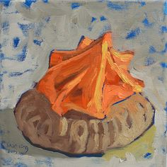 Orange sugar biscuit  The exact size of this sugar biscuit turns out to be 2.3cm x 2.7cm. I did studies in acrylic for all my sugar biscuits painting. Right after that I would paint them on the canvas. I finish the session by eating all the sugar biscuits. Satisfied I am.  Original Artwork Sold  Prints available at Fine Art America