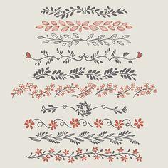 Fancy doodle floral borders and dividers. Floral Doodle royalty-free stock vector art<br> Fancy doodle floral borders and dividers. Bullet Journal Writing, Bullet Journal Aesthetic, Bullet Journal Ideas Pages, Bullet Journal Inspiration, Doodle Art For Beginners, Easy Doodle Art, Doodle Doodle, Easy Art, Floral Doodle