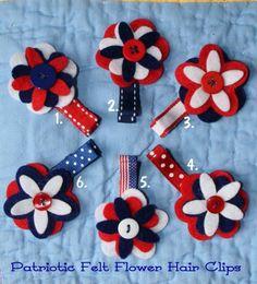 Patriotic Felt Button Flower Hair Clippy by CelticTideCreations