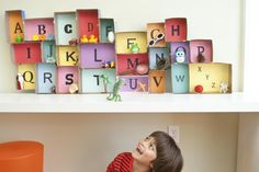 Inspired by the alphabet boxes often used in Montessori classrooms, this easy-to-assemble play station will familiarize your child with letters and letter sounds. Simply raid your pantry for boxes, line Kids Learning Activities, Learning Letters, Alphabet Activities, Craft Activities, Fun Learning, 3d Alphabet, Childcare Activities, Montessori Classroom, Preschool Literacy
