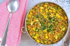 Brown Lentil Stew with Corn and Green Peas