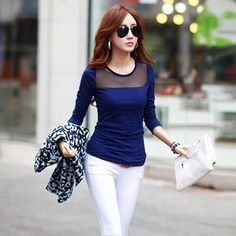 Cheap tee shirt online store, Buy Quality tee shirt printing equipment directly from China tee club Suppliers:             2015 new summer Chiffon Blouse Lapel Long Sleeve Europe Style Lace Stitch Shirt Ladies Elegant women shirts