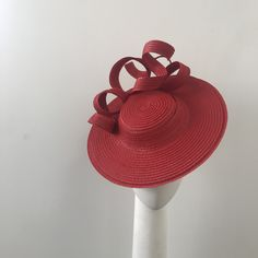 Stunning one of a kind red boater hat Hand crafted from virtually weightless fabric Proudly handmade with love and top quality materials in Auckland New Zealand Custom orders warmly welcomed Kentucky Derby Fascinator, Kentucky Derby Hats, Lilac Fascinator, Auckland New Zealand, Boater Hat, Love Hat, Pink Hat, Race Day, Claire