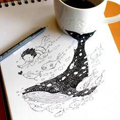 whale swimming with child, anamorphic art by tokomo-shintani Pantone, Illustrations, Illustration Art, Starbucks Cup Art, 3d Sketch, Art Japonais, Coffee Art, Coffee Time, Coffee Cups