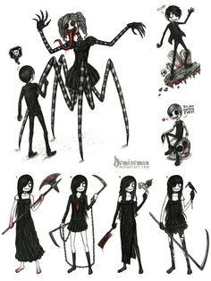 way: eaten grim reaper: Dollie and her corpse puppets Emo Pictures, Creepy Pictures, Emo Art, Goth Art, Manga, Evil Anime, Emo Scene, Sketch Inspiration, Creepy Art