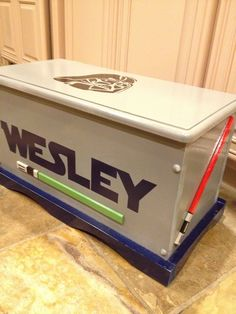LOVE THIS...Custom Personalized Star Wars Wooden Toy Box with Darth Vader and Light Sabers
