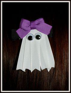 Halloween Ghost Ribbon Sculpture Hair Clip